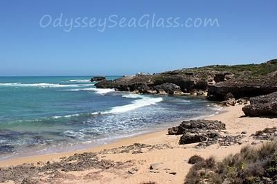 Not a large beach as you can see: ~ sea glass beach report submitted by Sandi Meyers Name of Beach and Location: Factory Bay - South Australia Thank you for your Odyssey