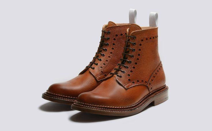 Charles | Mens Brogue Boot in Tan Burnished Calf Grain Leather with a Triple Welt Leather Sole | Neighborhood by Grenson | Grenson Shoes - Three Quarter View