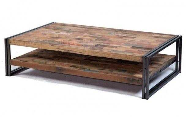 Table Basse Rectangulaire 120 Cm Style Industriel Factory Samudra Table Basse Table Basse Rectangulaire Table Basse Bois