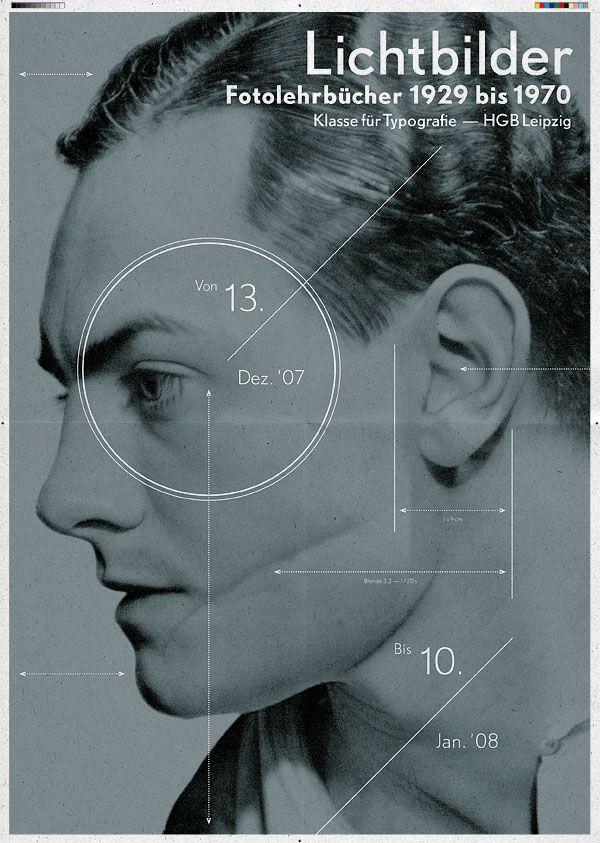 LICHTBILDER — Fotolehrbücher 1929 bis 1970  Exhibition poster, Typography class / Prof. G. Bose, Academy of Visual Arts Leipzig (HGB)
