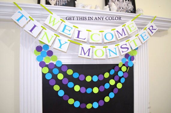 Welcome Tiny Monster baby shower banner, Monster Inc inspired Baby shower banner, Monster Inc theme shower decorations, Baby shower garland by DCBannerDesigns on Etsy https://www.etsy.com/listing/220325373/welcome-tiny-monster-baby-shower-banner
