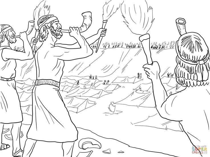 Gideon Soldiers With Trumpets And Torches Coloring Page