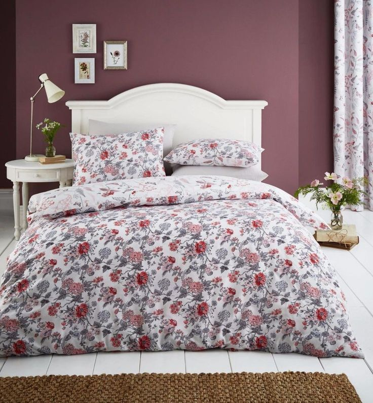 Catherine Lansfield Botanical Gardens Coral Duvet Cover Set - Single Double King