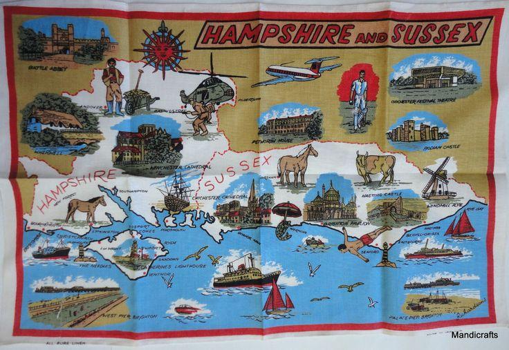 Tea Dish Towel Hampshire Sussex Map Old Borders Linen 20x30 Unused Made Ireland   eBay