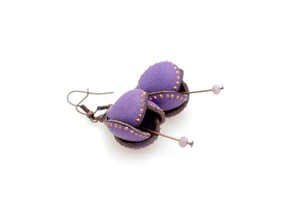 Flower Leather Earring Violet Purple Metallic Paint Dots