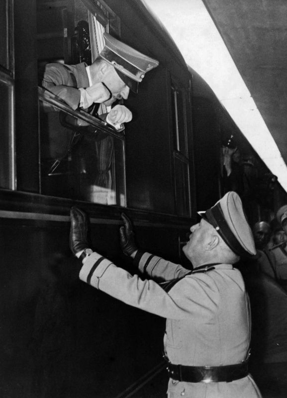 Hitler and Mussolini confer at the Brenner train station after a bilateral meeting in the spring of 1940. The two dictators saw eye to eye on many issues, and Hitler was expecting the Italians to contribute significantly to the war effort. This was before the invasion of Russia of course.