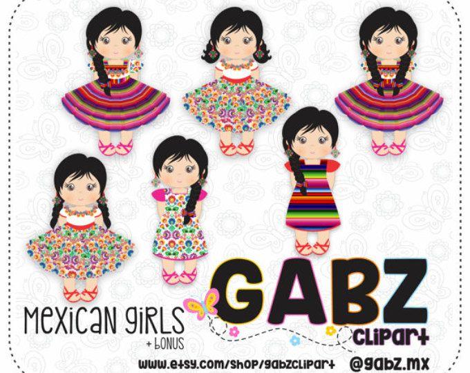 Chicas mexicanas, Imágenes Prediseñadas, Azteca, decorativo, mexicano, Fiesta, Viva México, 5 Mayo, Folklore mexicano, Gabz