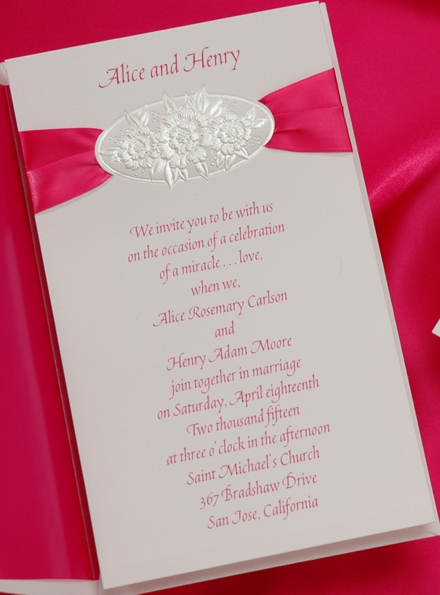 wedding celebration invitation%0A Hot pink satin ribbon tucks gently behind a floral embossed oval on this  lovely bright white invitation