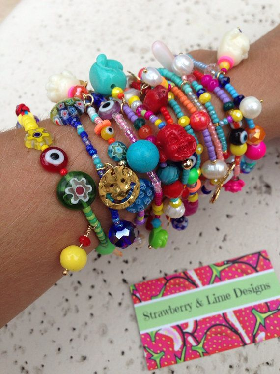 10 Tutti Frutti Summer Bracelet Set by strawberryandlime on Etsy, $80.00…
