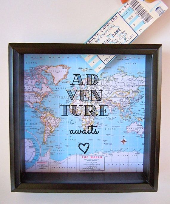Let it start out as a money holder for our next trip , then fill it with trip memorabilia when we get back from the trip!! Ticket Stubs- Map of our destination with Text Background - Drop Top Shadow Box -