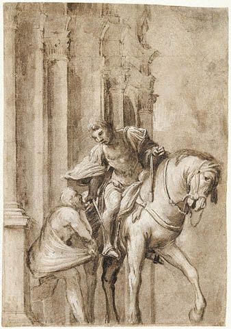 Lorenzo Lotto  Italian, about 1530  Brush and gray-brown wash, heightened with white and cream-colored bodycolor, over black chalk on brown paper 12 3/8 x 8 9/16 in.