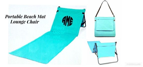 Portable Beach Mat Lounge Chair Peronalized by Hippydecorandmore