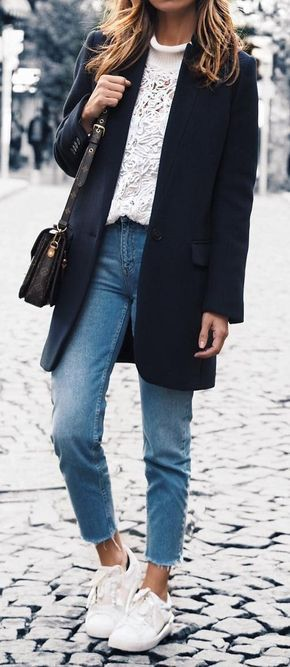 #fall #outfits White Sweater // Black Coat // Jeans // White Sneakers