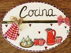 Placa para puerta cocina corazones (Cocina)