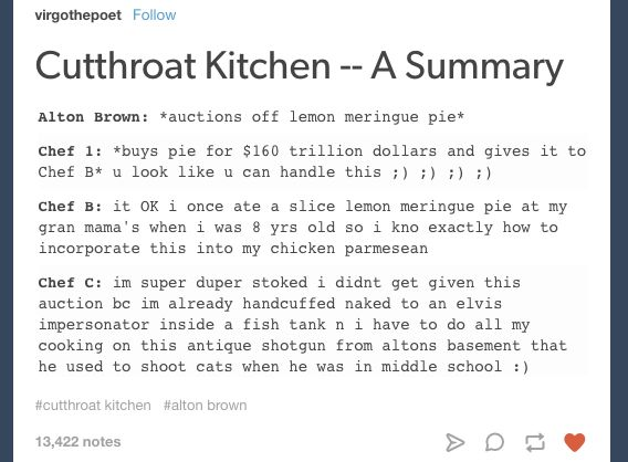 "What kind of fresh hell is this? | Community Post: 22 ""Cutthroat Kitchen"" Tumblr Posts That'll Make You Cackle"