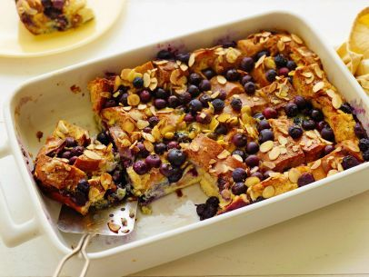 Blueberry Almond French Toast Bake #Grains #Protein #MyPlate: Healthy Meal, Food Network, French Toast Bake, Almonds, Breakfast, Almond French, Blueberries