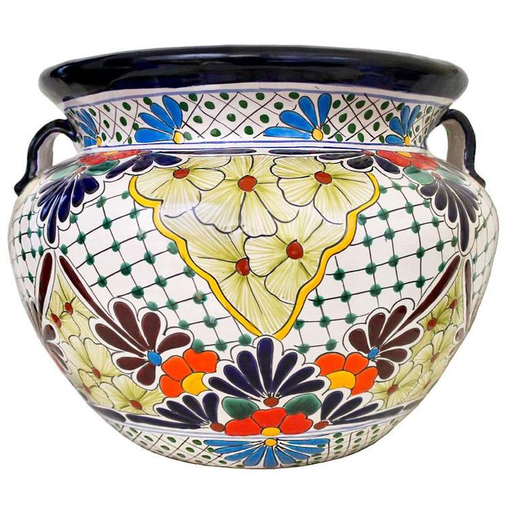 Featuring Intricate Floral Patterns And Classic, Multi Colored Designs,  This Striking Talavera Planter Will Beautify Any Home Or Garden.