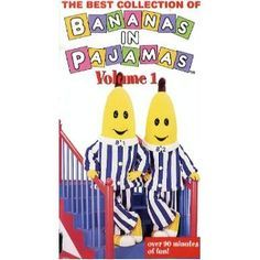Cartoon Banana in pajamas is an Australian children's television show on ABC. The main characters are two bananas named B1 and B2. Other characters are 3 teddy bears, and rat. Bananas in Pyjamas somg becomes a regular item on Play school.