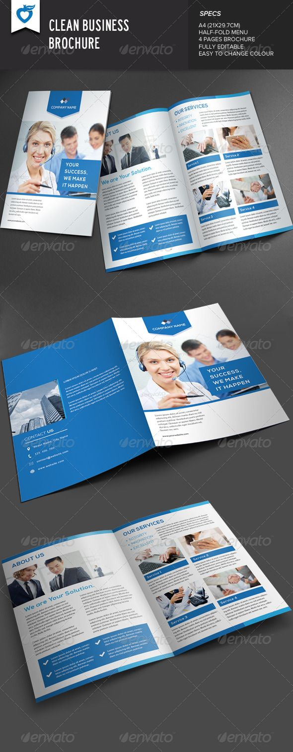 Clean Business Brochure   http://graphicriver.net/item/clean-business-brochure/7888566?ref=damiamio       Clean business brochure template. This layout is suitable for any project purpose. Very easy to use and customise.   ................................................   Size : A4 (21×29.7CM) 4 pages   Free Font Used :   fontfabric /nexa-free-font/   ................................................   File included :   AI Files (CS5 & CS Layered) | EPS Files | TXT (help file)  …