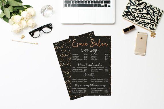 Salon Menu/Salon Rack Card/Salon List/Price List salon/Hairstylist…