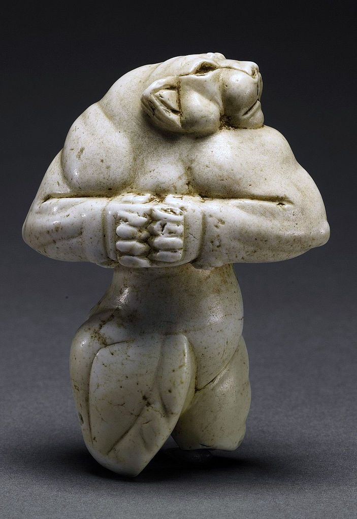 The Guennol Lioness is a 5,000-year-old Mesopotamian statue depicting an anthropomorphic lioness. 3rd millenium BCE. The statue was found near Baghdad, Iraq and is on display in New York City's Brooklyn Museum of Art.