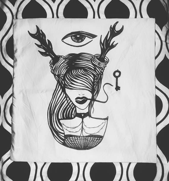 hand drawing pillow case eye gothic occult tattoo girl demon