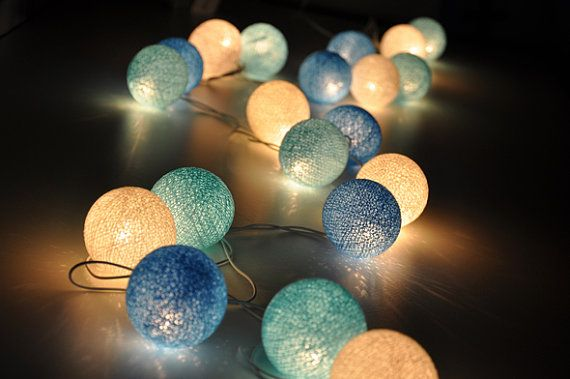 35 Bulbs Sky Blue tones cotton ball string lights for Patio,Wedding,Party and Decoration