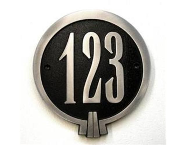 art deco large house number plaques in powdercoated. Black Bedroom Furniture Sets. Home Design Ideas