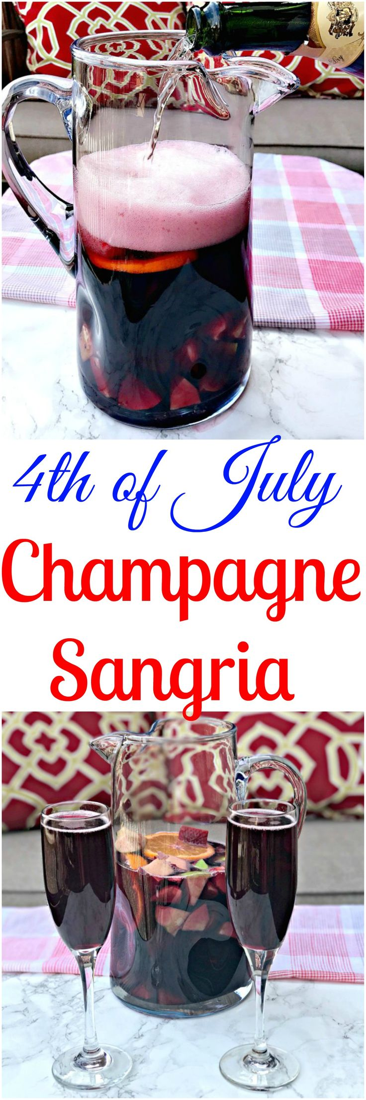 4th of July Patriotic Red Wine Champagne Sangria perfect 4th of July drink, cocktail. Fun Patriotic drinks