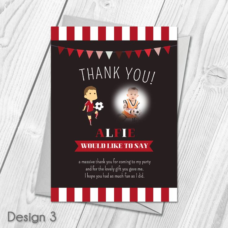 Personalised Football Party Thank You Cards | Childrens Football Party Theme |   Custom Made With Your Own Wording |   All orders include FREE UK 1st Class Royal Mail delivery