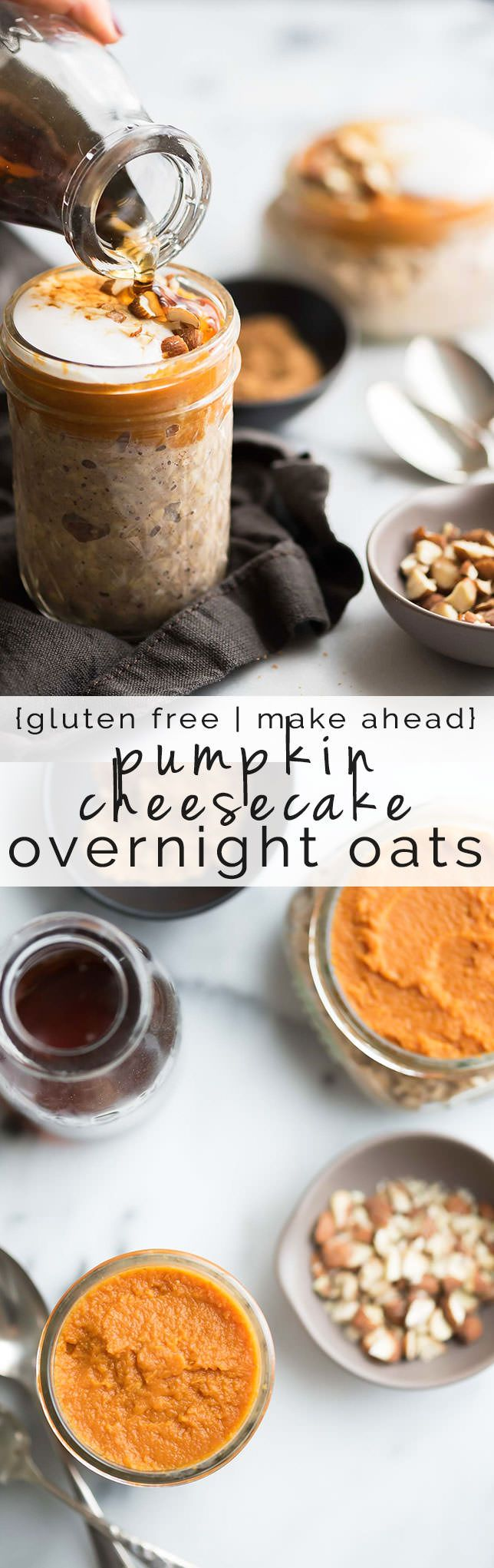 Pumpkin Cheesecake Overnight Oats - a step up from the basic overnight oats in a jar! With a creamy cheesecake layer, they're a dessert inspired breakfast!