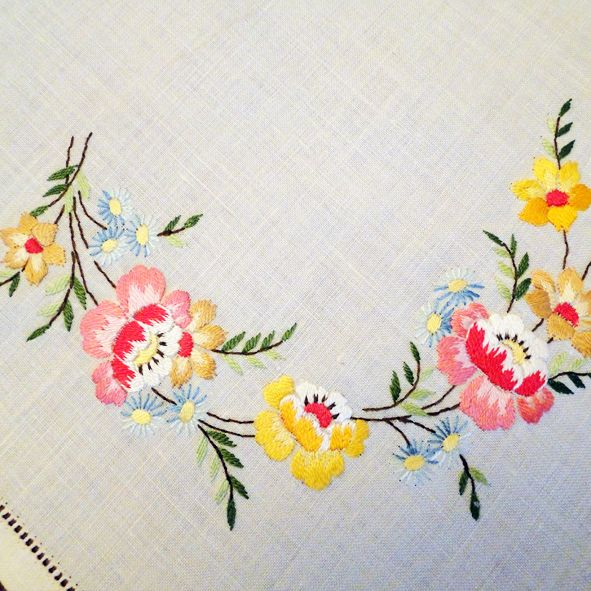 Hand Embroidered Tray or Centre Piece Cloth - Muliti Floral, Paradis Terrestre - Luxury British Made Accessories & Homeware