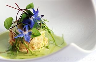 Chilled cucumber and horseradish gazpacho with Lymington crab salad and pickled white radish - one of the Flower Power recipes | Great British Chefs