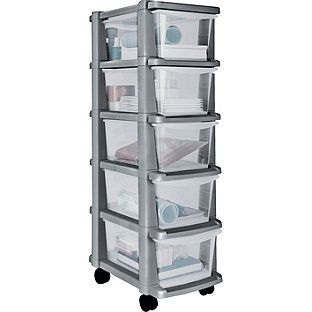 Home 5 Drawer Plastic Slim Tower Storage Unit Silver At Argos Co