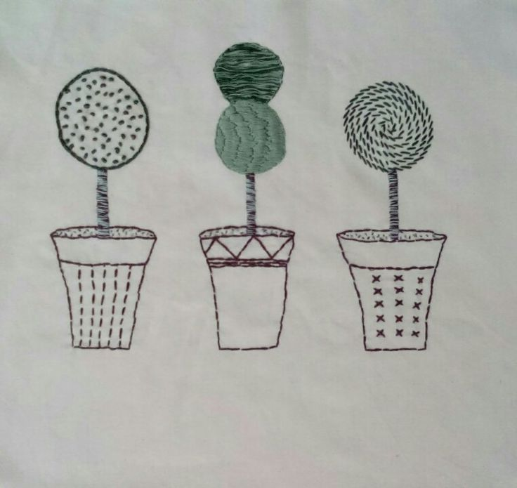 Hand-Embroidered topiary