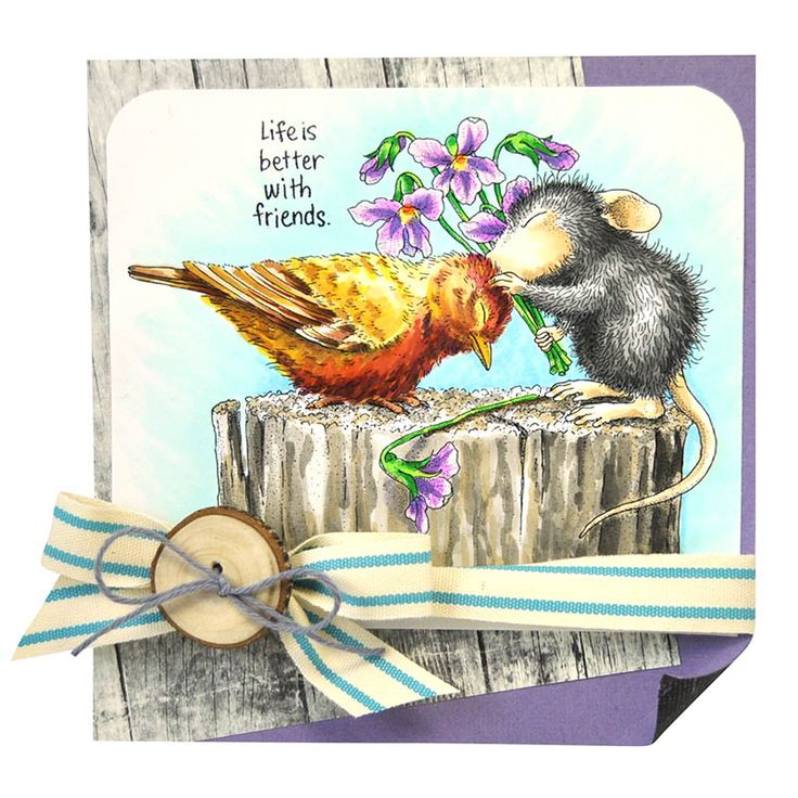 These adorable friends know that life is better together. Create a colorful spring card like Janelle Stollfus did with the Birdie Kiss stamp from House-Mouse Designs® and Stampendous.