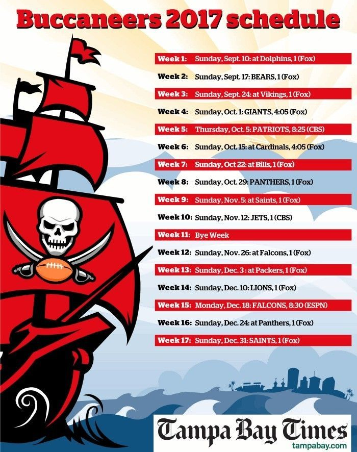 """2017-2018 TAMPA BAY BUCCANEERS PRO NFL FOOTBALL SCHEDULE MAGNET (LARGE 4""""X5"""")"""
