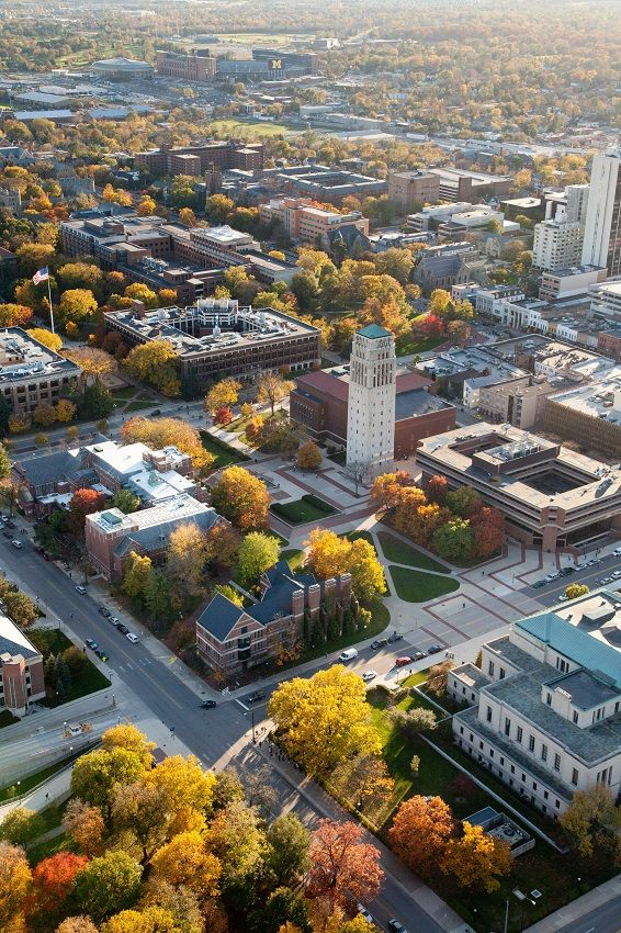 Aerial view of Ann Arbor and the University of Michigan Central Campus