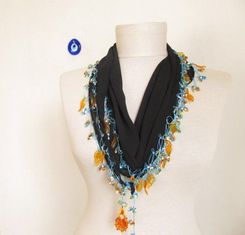 Christmas gift chiffon scarf black scarf  woman scarves by asuhan, $21.00