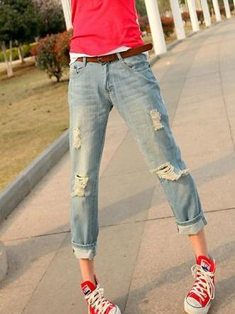 Korean Style Plus Sizes Casual Holes Long Jeans