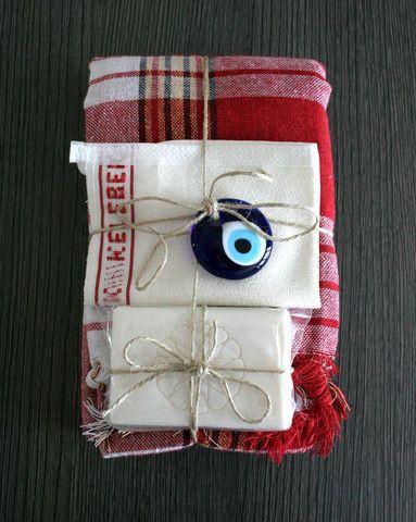 Christmas Gift Red Turkish Bath Hamam Set