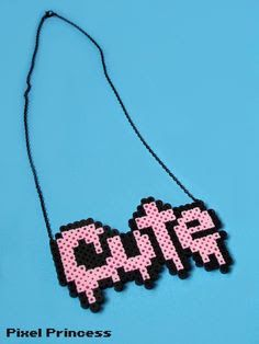 Pastel goth perler bead necklace