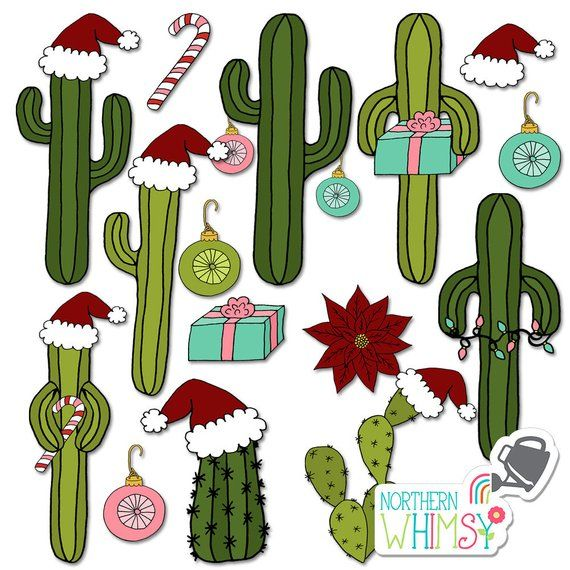 Christmas Clip Art Fun Hand Drawn Christmas Themed Cacti Illustrations With Santa Hats Candy Canes Lights Presents Commercial Use Ok Christmas Clipart Christmas Card Pictures Cactus Illustration