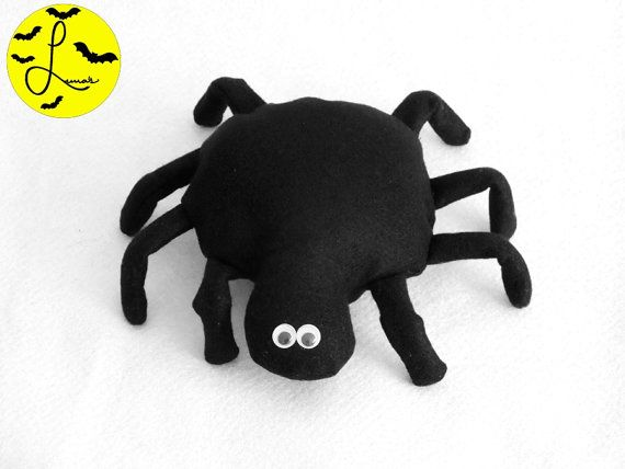 Cute Spider Plushie / Small Fleece Halloween Toy with Googly Eyes - non scarey for use with the Eency Weency spider
