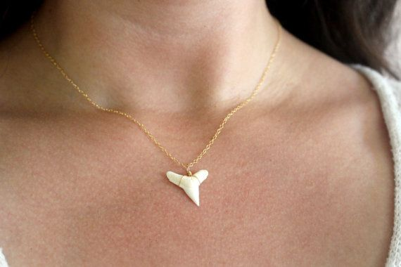 18 inch chain Wicked Shark Tooth Necklace Dainty Gold Necklace by FiveOfMine