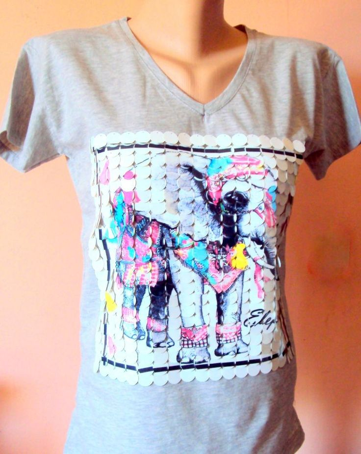 Handmade Elephant T-Shirt Embellished with Sequins Festival Top Ethnic T-Shirt  #Handmade #EmbellishedTee
