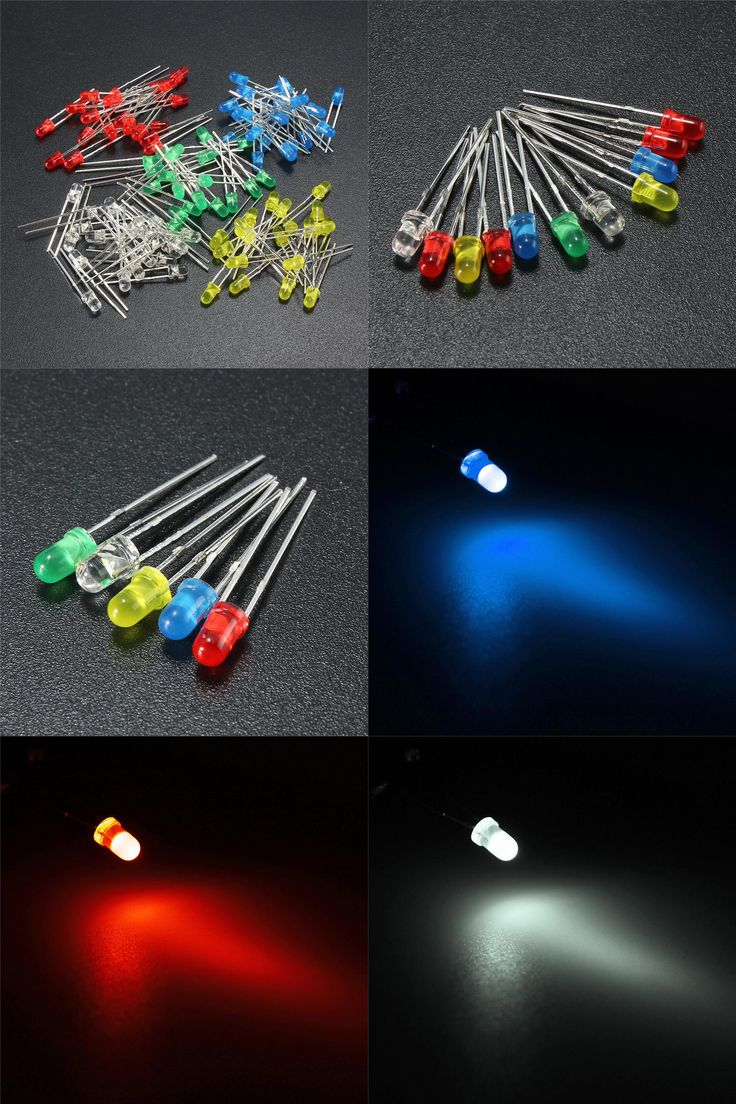 [Visit to Buy] 100pcs/lot 3mm LED Emitting Diodes Light Kit Set Round Top 5 Colors Diffused Green Red White Blue Yellow For DIY Lighting #Advertisement