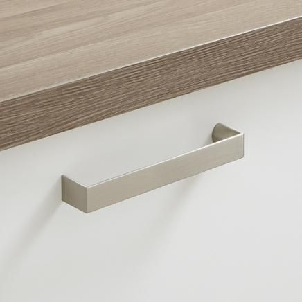 Stainless Steel Effect Chunky D Handle | Bathroom Handles | Bathroom Cabinet Collection | Howdens Joinery