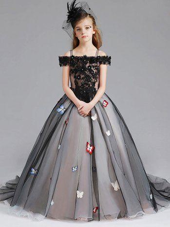43d575355ae Desinger Retro Butterfly Embellishment Lace Tulle Girls Princess Flower  Dress