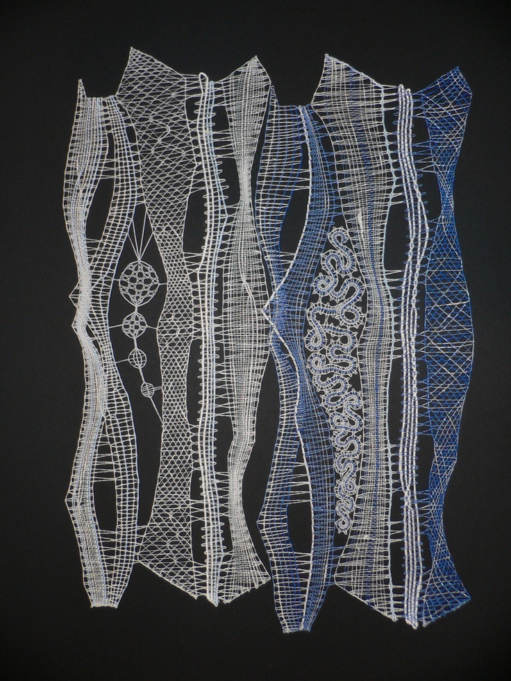Two fragments of laces made for Czech lace instalation on OIDFA 2008. Master of laces was from Iva Prošková, this laces is made by Lenka Veselá.